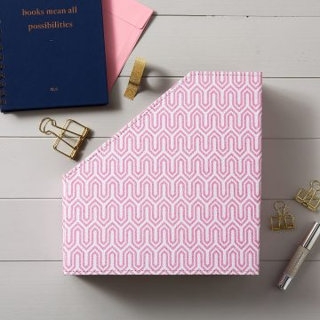 Pink Geometric File and Book Holder