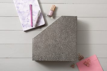 Dark grey starburst dots file and book holder