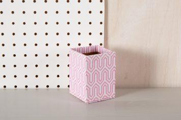 pink geometric pen pot