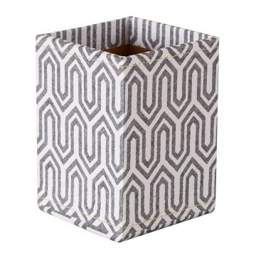 Pen Pot with Magnetic Backing – Grey Graphic Geometric