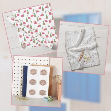 Bundle of 3 Items: Flamingo & Pineapple Wallpaper Starter Pack, Faux Fur Carpet & 6 Locker Door Message Magnets