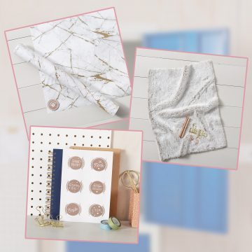 Bundle of 3 Items: Marble Wallpaper Starter Pack, Faux Fur Carpet & 6 Locker Door Message Magnets